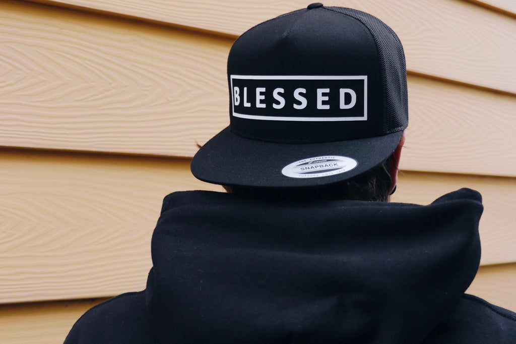 BLESSED Snapback Flat Bill Cap