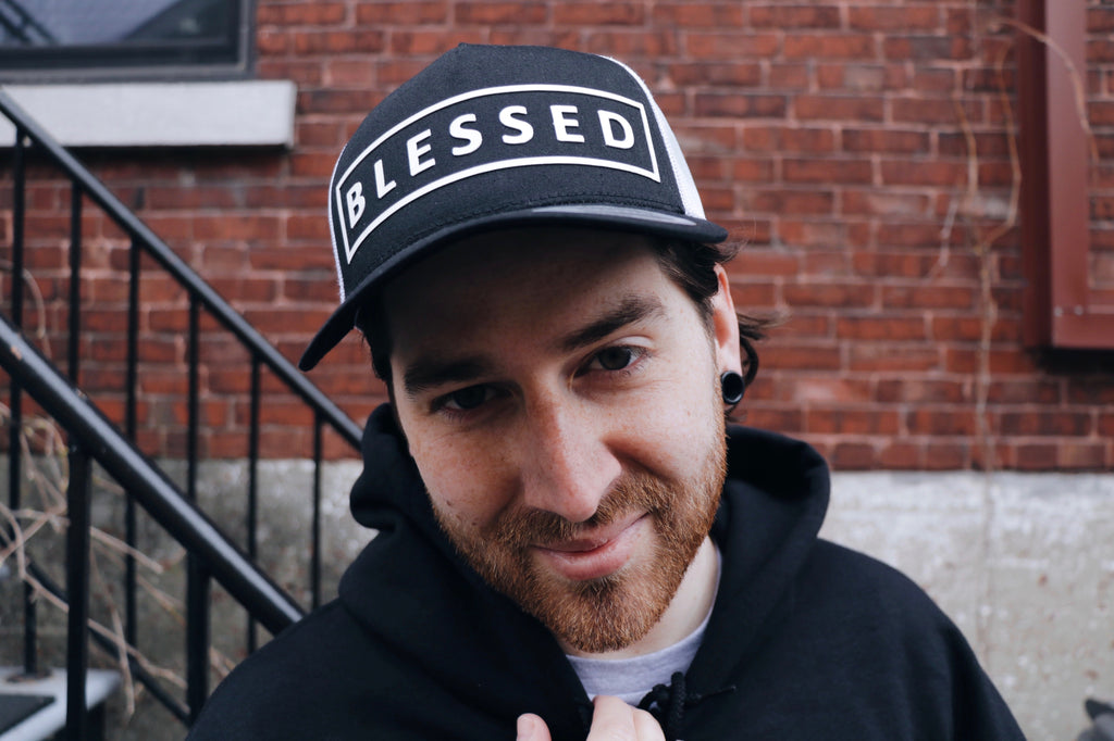 BLESSED Snapback Retro Trucker Hat BLACK& WHITE