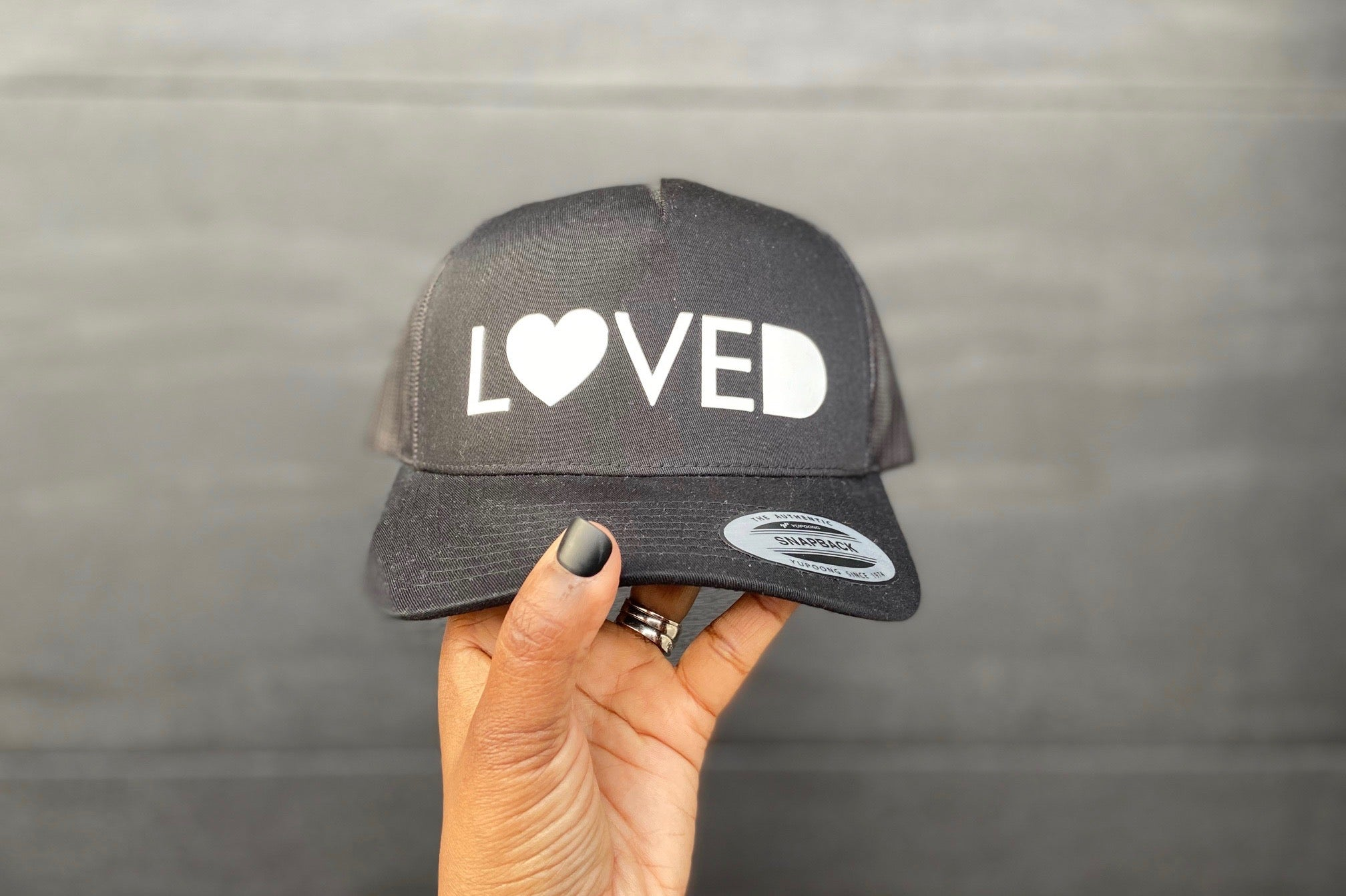 LOVED Snapback Retro Trucker Cap BLACK