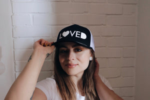 LOVED Snapback Retro Trucker Cap BLACK & WHITE