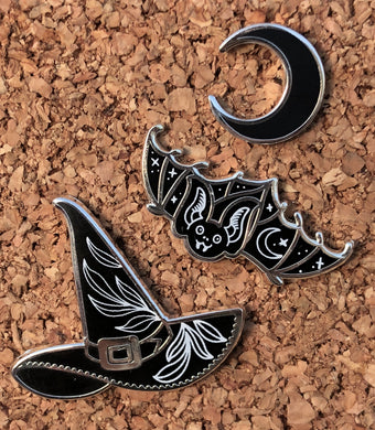 Witch Hat / Bat Pins