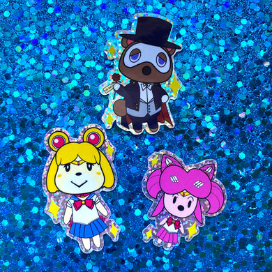 Moonie Crossing Rainbow Glitter Stickers!