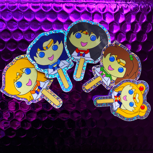 Moonie Bubblegum Popsicle Stickers - Inner Senshi - Rainbow Glitter!