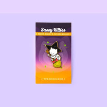 Load image into Gallery viewer, SASSY KITTIES WITCHY KITTY BROOM ENAMEL PIN