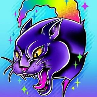 Panther Rainbow Sparkle Print
