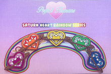 Load image into Gallery viewer, Rainbow Saturn Heart Pins