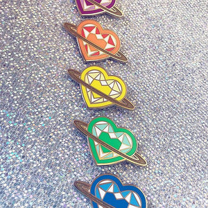 Rainbow Saturn Heart Pins