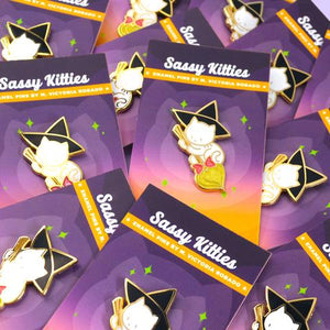 SASSY KITTIES WITCHY KITTY BROOM ENAMEL PIN