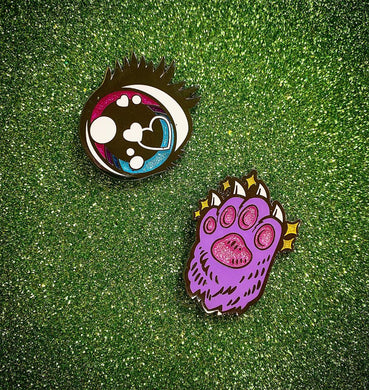 Sparkle Kawaii Eye + Purple Kitty Paw Pin