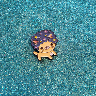 Starry Nights Afro Cat Pin