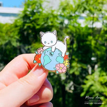 Load image into Gallery viewer, Earth Cat White Enamel Pin
