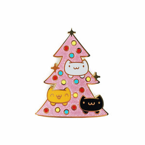 CATMAS TREE • 2 INCH GIANT GLITTER LAPEL PIN • LIMITED EDITION