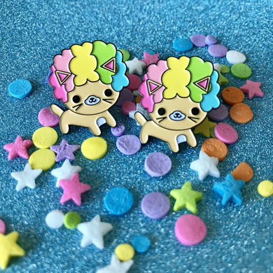 AFRO CAT BRIGHT RAINBOW KAWAII CAT ENAMEL PIN