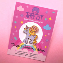 Load image into Gallery viewer, AFRO CAT MAGICAL UNICORN GLITTER ENAMEL PIN
