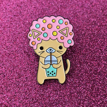 Load image into Gallery viewer, AFRO CAT I LOVE BOBA PINK ENAMEL PIN