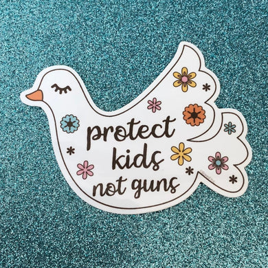 PROTECT KIDS, NOT GUNS DOVE STICKER