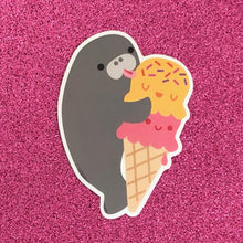 Load image into Gallery viewer, MANATEE & ICE CREAM CONE VINYL STICKER