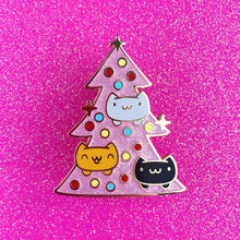 Load image into Gallery viewer, CATMAS TREE • 2 INCH GIANT GLITTER LAPEL PIN • LIMITED EDITION