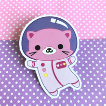 "Load image into Gallery viewer, KAWAII CAT ASTRONAUT ""SPACE KITTY"" VINYL STICKER"