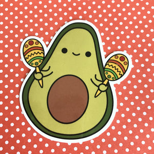 CHA CHA THE AVOCADO WITH MARACAS STICKER