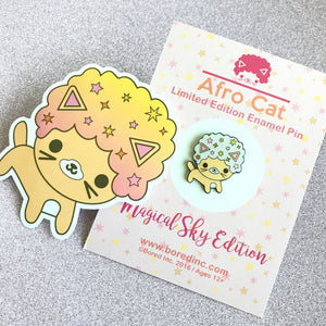 SALE AFRO CAT MAGICAL SKY GLITTER ENAMEL PIN & STICKER SET