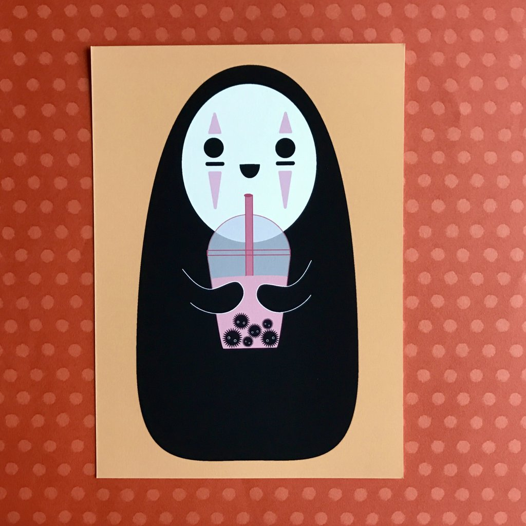 5X7 ART PRINT NO-FACE & SOOT SPRITE BOBA SPIRITED AWAY ART PRINT