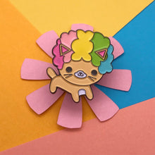 Load image into Gallery viewer, AFRO CAT BRIGHT RAINBOW KAWAII CAT ENAMEL PIN
