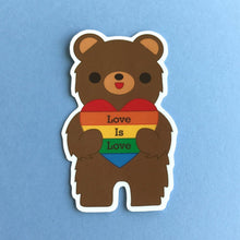 Load image into Gallery viewer, CALIFORNIA BEAR 'LOVE IS LOVE' RAINBOW HEART STICKER