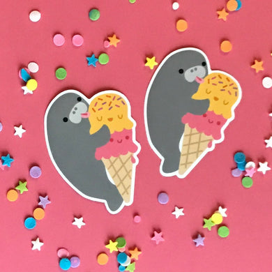 MANATEE & ICE CREAM CONE VINYL STICKER