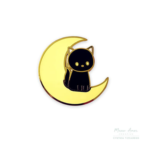 Black Cat on Moon Enamel Pin
