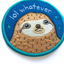 "Load image into Gallery viewer, LOL WHATEVER SLOTH 3"" IRON-ON PATCH"