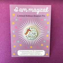 "Load image into Gallery viewer, ""I AM MAGICAL"" WHITE GLITTER UNICORN ENAMEL PIN"