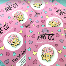 Load image into Gallery viewer, AFRO CAT PASTEL LOVE ENAMEL PIN