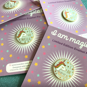 """I AM MAGICAL"" WHITE GLITTER UNICORN ENAMEL PIN"
