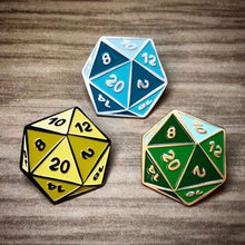 Load image into Gallery viewer, Multicolor D20 Enamel Pins