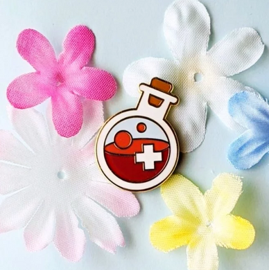 Red HP Health Potion Bottle Hard Enamel Pin