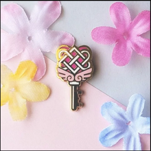 Load image into Gallery viewer, Pink Heart Gold Love Knot Key Pin