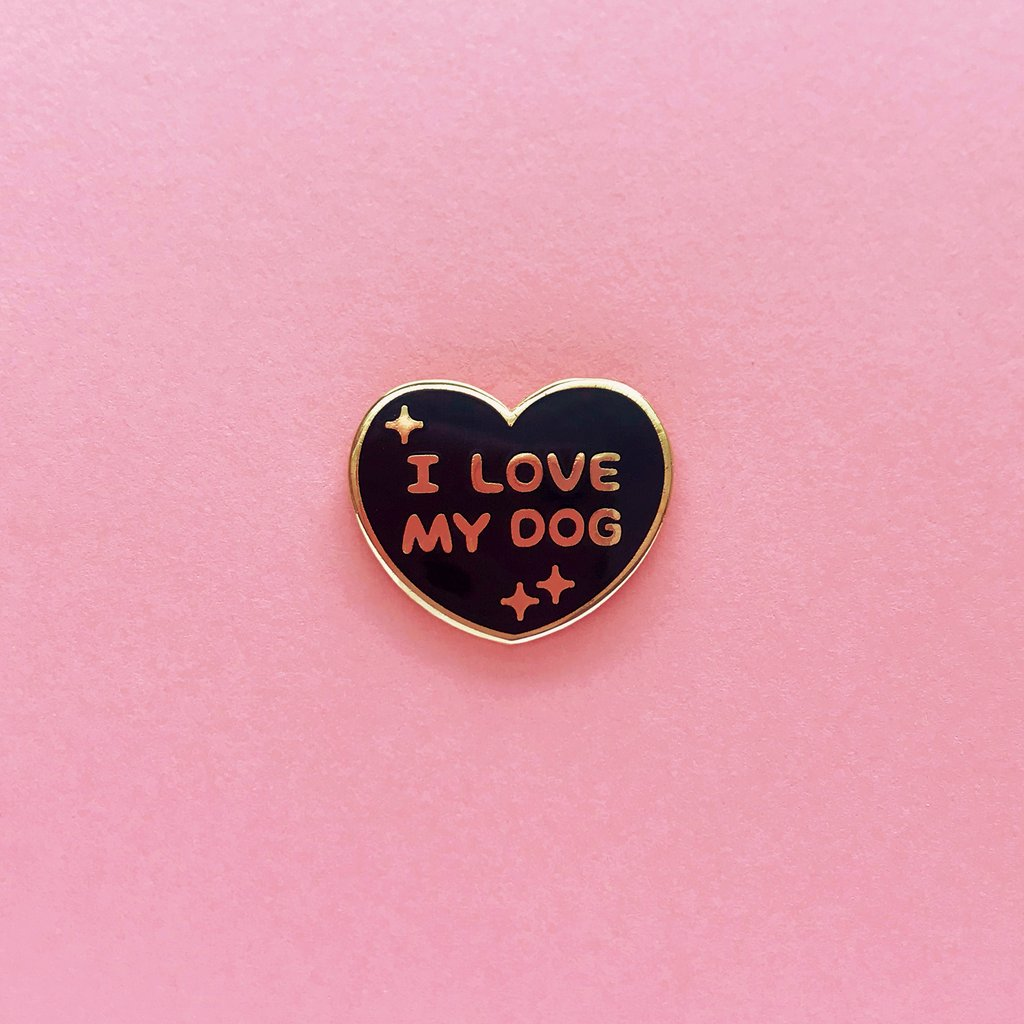 I LOVE MY DOG LAPEL PIN • BLACK