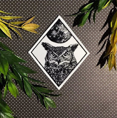Owl Patch Moon Patch Iron On Woven Patch