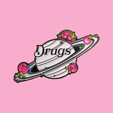 Drugs Glow in the Dark Saturn Enamel Pin