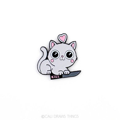 Kitty Hearts Kill Enamel Pin