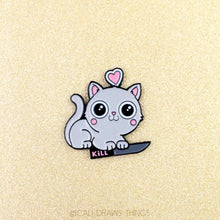 Load image into Gallery viewer, Kitty Hearts Kill Enamel Pin