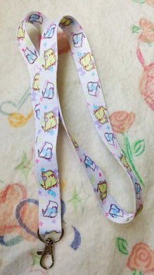 Sk8r Birb Thin Lanyard | Kawaii Fairy Kei Parakeet Lanyard for Work or School