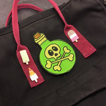 "Load image into Gallery viewer, Poison Potion Bottle - 4"" embroidered patch - sew on patch - Halloween - spooky"