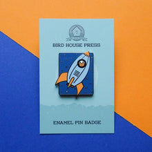 Load image into Gallery viewer, Cat Enamel Pin - Rocket Cat - Cat in Space - Pin Badge