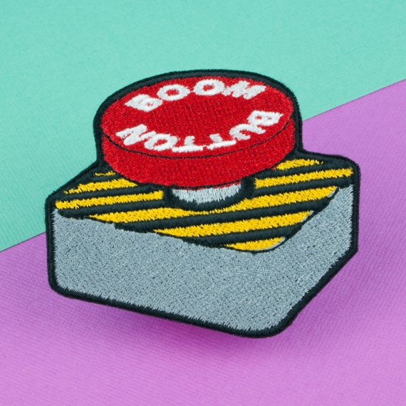 Boom button iron on patch