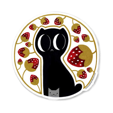 GOLD METALLIC Strawberry Kitty Sticker