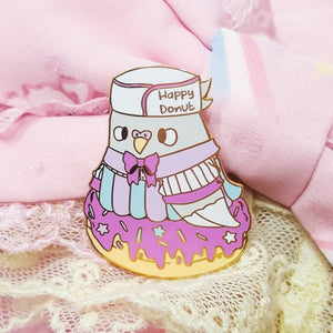 Baker Birb Pigeon Hard Enamel Pin | Retro Diner Inspired Pink Donut Pastel Pigeon by Precious Bbyz