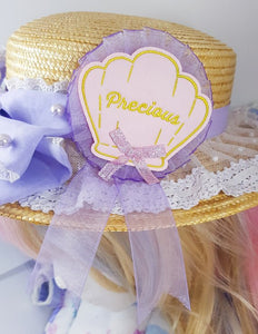 Kawaii Sea Shell Fabric Rosette | Summery Lolita Fashion/Fairy Kei Inspired Brooch by Precious Bbyz