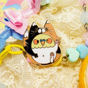 Kibby Birb Enamel Pins! | Kawaii Cockatiel Calico Cat costume gold hard enamel pins by Precious Bbyz